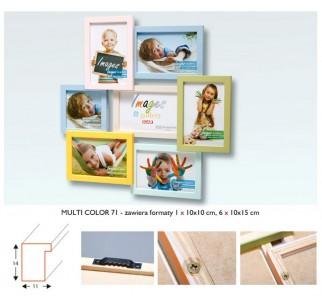 ICAR MULTI RAMKA na 7 zdjęć DZIECKA 10x15 i 10x10 DREWNO
