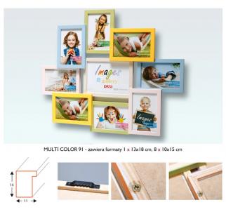 ICAR MULTI RAMKA na 9 zdjęć DZIECKA 10x15 i 13x18 DREWNO